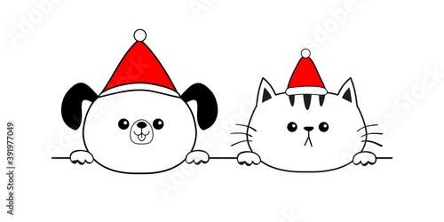 Cat dog face icon. Red Santa Claus hat. Merry Christmas. Hands paw holding line. Cute cartoon pooch kitten character. Kawaii animal. Funny baby puppy kitty. Flat design. White background.