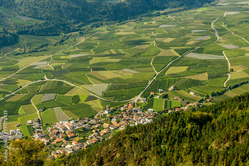 Superb panoramic view of the Val Venosta in the Silandro and Corzes area on a su Fototapet