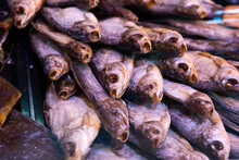 Dried Fish Chekhon On The Counter Of The Store