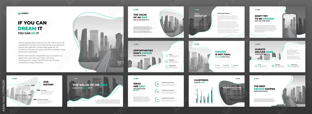 Fototapeta Business powerpoint presentation templates set. Use for keynote presentation background, brochure design, website slider, landing page, annual report, social media banner.