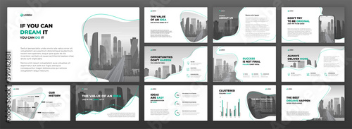 Fototapeta Business powerpoint presentation templates set. Use for keynote presentation background, brochure design, website slider, landing page, annual report, social media banner. obraz
