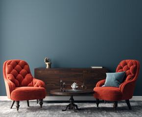 Elegant dark interior with bright red armchairs, 3d render