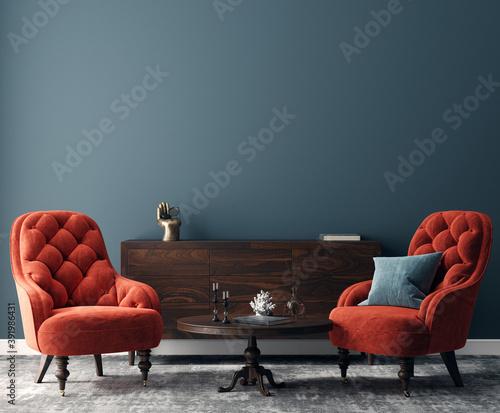Elegant dark interior with bright red armchairs, 3d render Wallpaper Mural