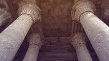 Temple Of Horus Edfu Columns Detail And Structure Around Corridor And Entrance With Hieroglyphic Details Beatiful Art