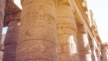 Giant Columns Of Karnak Temple Overscale Architect With Beautiful Painting And Hieroglyphic Carving Details