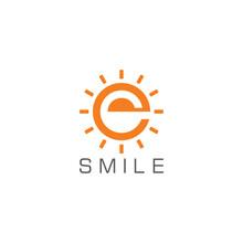 Abstract Smile Letter E Sun Warm Geometric Logo Vector