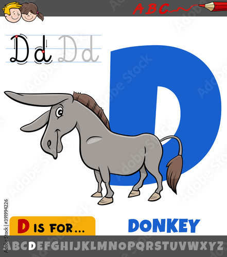 Fotografija letter D worksheet with cartoon donkey farm animal