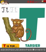 Letter T Worksheet With Cartoon Tarsier
