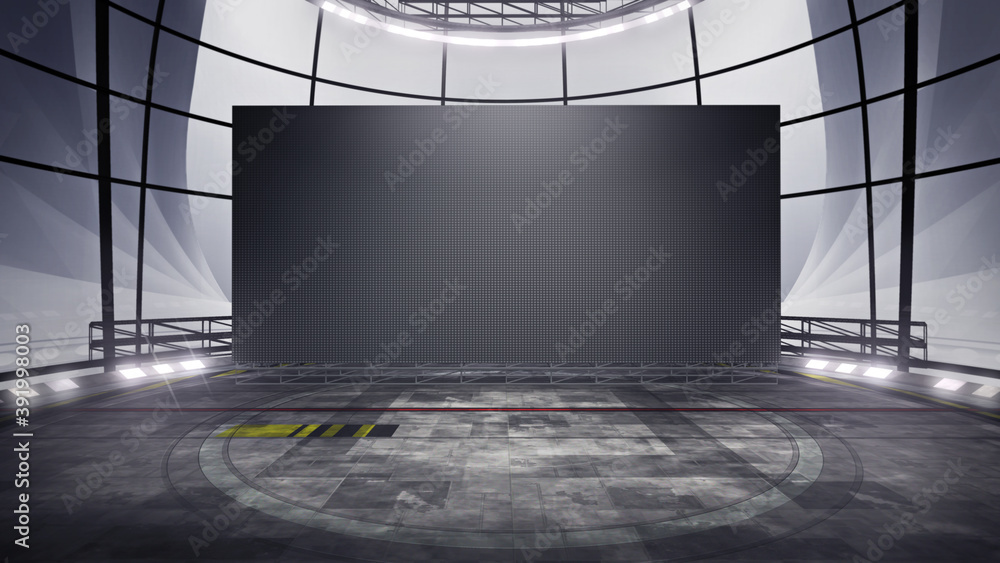 Fototapeta Front view of a Virtual studio background with a big empty videowall display ideal for tv shows, commercials or events. Suitable on VR tracking system stage sets, with green screen. (3D rendering)