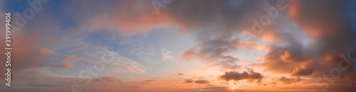 Fototapeta panorama of dramatic sky during sunset. Sky background during sunset or sunrise obraz
