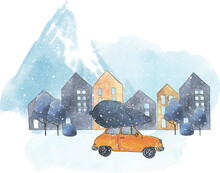 Car With Tree In Snowy Winter City, Watercolor Snowy Mountain Landscape With Spruce, Trees And Houses, Snowy Mountain Village Illustration, Snow  Winter Scene Image
