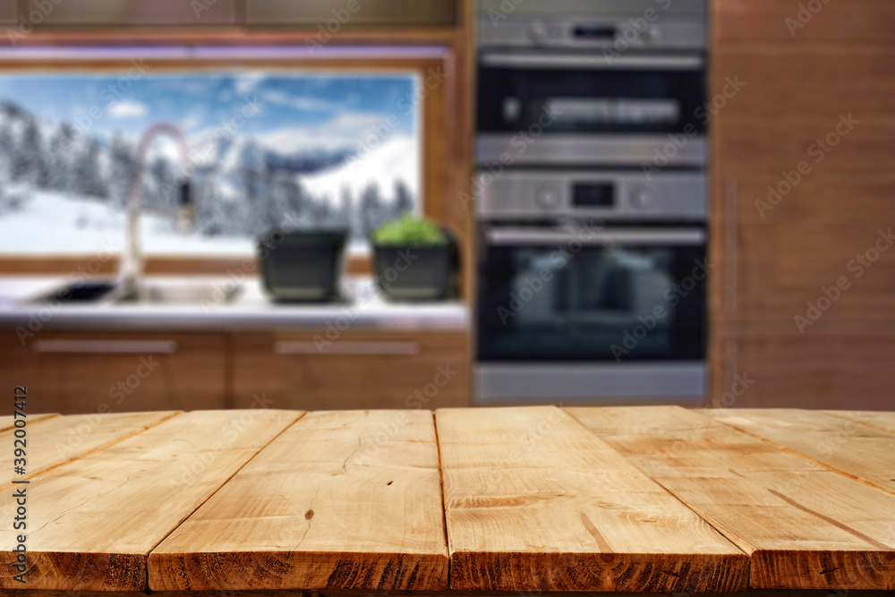 Fototapeta Desk of free space and winter window