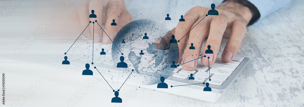 Fototapeta online business concept. global business contracts