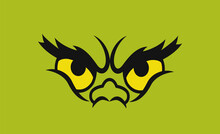 Green Monster Eyes. Isolated On Green. Vector