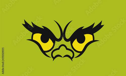 Fototapeta Green monster eyes. Isolated on green. Vector obraz