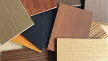 Multi Color And Texture Of Wooden Veneer Samples Used For Interior Material Concept Background Such As Dark Wood, Oak ,douglas Fir, Burnt Sienna ,hickory ,maple ,ash ,american Walnut Wood Textures.