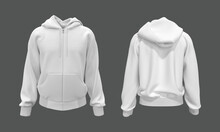 Blank Hooded Sweatshirt, Men's Hooded Jacket With Zipper For Your Design Mockup For Print, Isolated On Grey Background, 3d Rendering, 3d Illustration