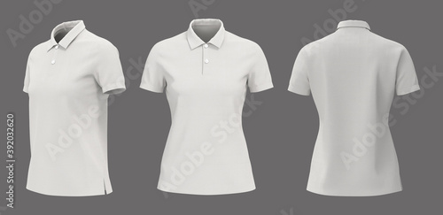 Fototapeta Blank white collared shirt mockup in front, side and back views, plain t-shirt mockup, tee design presentation for print, 3d rendering, 3d illustration obraz