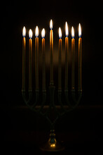 Gold Candles Lit In Hanukah Me...