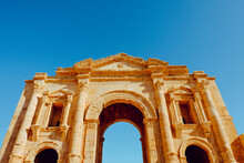 Grand Arched Entrance To The Ancient Roman City Of Jerash, Jordan