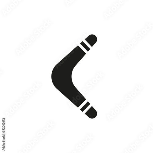 Boomerang icon. Vector black and white silhouette of a boomerang Wallpaper Mural