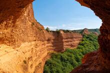 View From A Cave To A Cliff In Las Medulas, Old Gold Mine In Spain