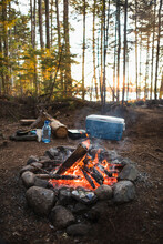 Campfire At Sunset While Car Camping In Coastal Maine