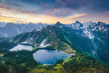 """Beautiful """"Twin Lakes"""" Lakes From The Top Of Winchester Mountain, USA"""