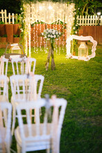 Decorated Wedding Arch. Wedding Ceremony In The Woods.