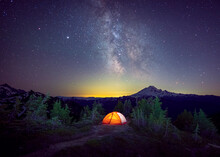 A Tent Is Under The Milky Way ...