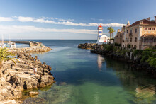 Beautiful View To Ocean Front Lighthouse In Cascais