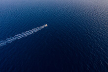 Aerial View Of A Speed Boat At...