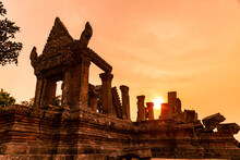 Lower Sanctuary Preah Vihear At Sunset. Angkorian Temple, Preah Vihear Province, Cambodia.