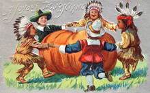 Native American And Pilgrim Children Dancing Together Around A Pumpkin. Thanksgiving Multicultural, Diversity Theme, Restored Color, Details Enhanced. From A Vintage Postcard Illustration