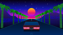 Classic 80s Car Ride On The Road With Palm Trees, Mountains And Sunset. Retrowave Or Synthwave Arcade Game View With Race To The Sun. 1980s Neon Romantic Landscape