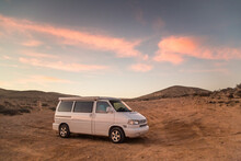 Family Camper Van Parked On Beach In Fuerteventura, Canary Islands, Spain.
