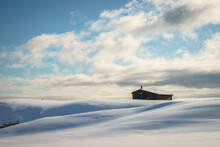A Deserted Hut In Alkhornet, North Spitsbergen, Seen On A Glacier Walk On An Arctic Cruise, Svalbard