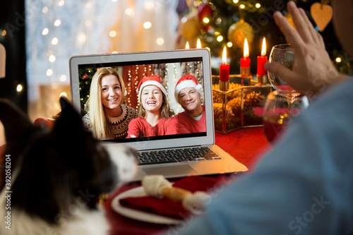 Fototapeta Mature man celebrating Christmas with his dog sitting at served holiday  table with laptop. People greeting their friends on video call using webcam. Christmas eve online. New normal social distancing obraz