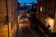 Stockholm, Sweden. Cobbled street in Sodermalm. Color street with cobblestone road, streetlight. Narrow street