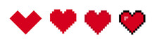 Hearts Vector Pixel Icons Isolated Elements. Vector Illustration. Love Symbol Isolated  Signs.