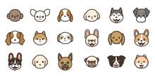 色々な種類の犬の顔のアイコンセット