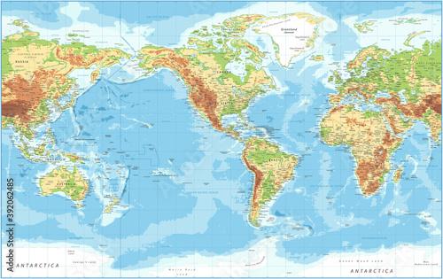 Fototapeta World Map - American View - Physical Topographic - Vector Detailed Illustration - America in Center obraz