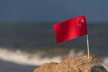 National Flag Of China On Sea ...