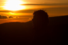 Silhouette Of A Man's Head At Sunset