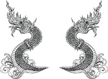 Traditional Line Thai Style. Naka Thai Dragon Vector And Illustration Isolate. Naga Or Naka Is Buddha's Animal ,It's King Of Snake In South East Asia.