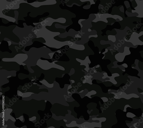 Black camouflage vector graphics military pattern on textiles Fototapet