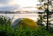 Camping Tent Near Trees On Coa...