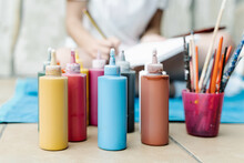 Color Painting Bottles In Fron...