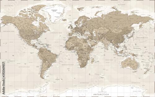 World Map - Vintage Retro Old Style -  Detailed Illustration