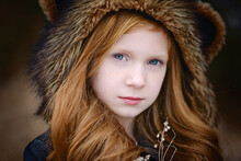 Young Girl Long Red Hair Weari...